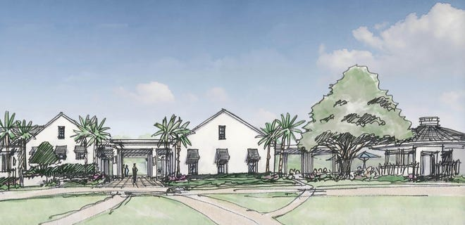 An artist's rendering of the east-side entry of the proposed clubhouse at West Palm Golf Park. COURTESY SPINAOROURKE