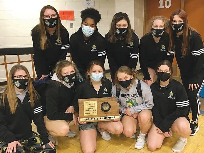 Pratt High School's Lady Greenbacks pose with their Sub-State Championship trophy Saturday in Ellis County.