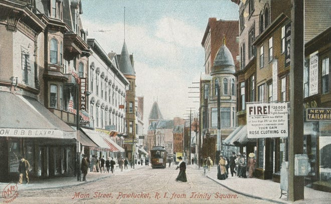 Pawtucket's Trinity Square in the early 20th century. Tow Fong's restaurant is visible on the left.