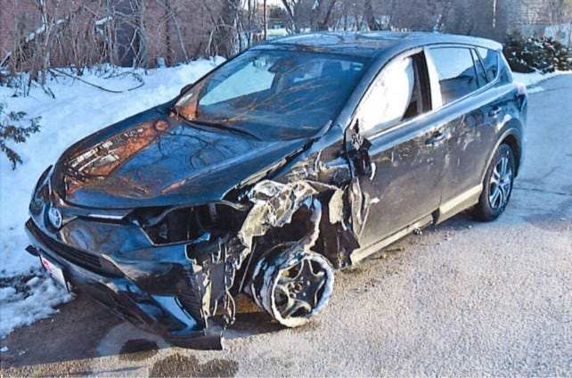 The Richmond police say the driver of this car was charged with DUI and possession of a stolen motor vehicle after it struck a tree Sunday afternoon.