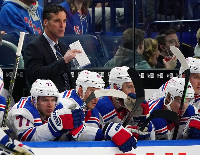 New York Rangers head coach David Quinn, shown behind the bench in a 2015 game, is among the inductees this year to the Rhode Island Hockey Hall of Fame.