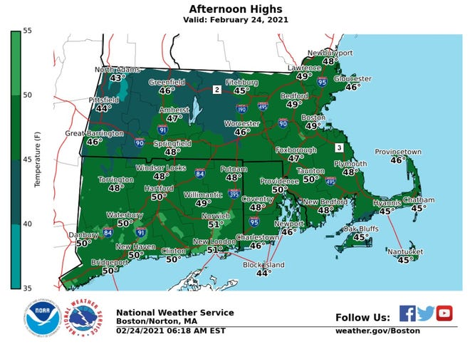 The National Weather Service says Wednesday will be the warmest day of the work week.