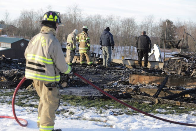 The body of a man was found in the rubble of a Bethlehem Township home destroyed by fire early Wednesday morning. Officials said it could take some time to identify the victim.