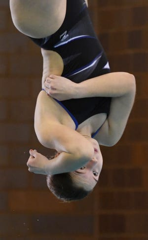 Revere's Peyton Thurman finished sixth in one-meter diving in the 2021 Division II state swimming and diving meet at C.T. Branin Natatorium in Canton on Wednesday. [Canton Repository]
