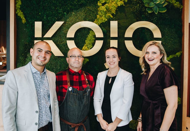 Robert Castellon, general manager of KOJO, David Roth, beverage director, Kristen Hoff, assistant general manager, and Natalia Levey, founder of Hi Hospitality Group.