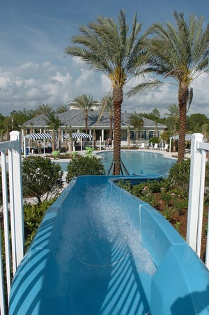 The water slide at the Grand Palm community in Venice. Grand Palm is among the upscale Florida communities that have received special access to the COVID-19 vaccine.