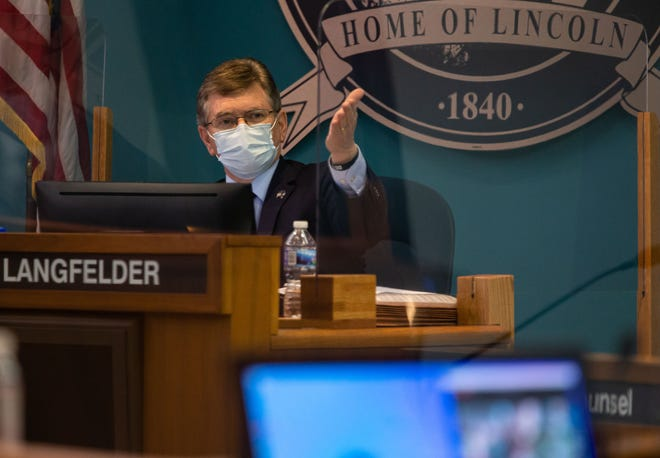 Springfield Mayor Jim Langfelder discusses moving fire stations to have better fire coverage in the city as the Springfield City Council debates the City of Springfield's Fiscal Year 2022 budget during a special City Council meeting in the council chambers in Springfield, Ill., Tuesday, February 23, 2021. [Justin L. Fowler/The State Journal-Register]