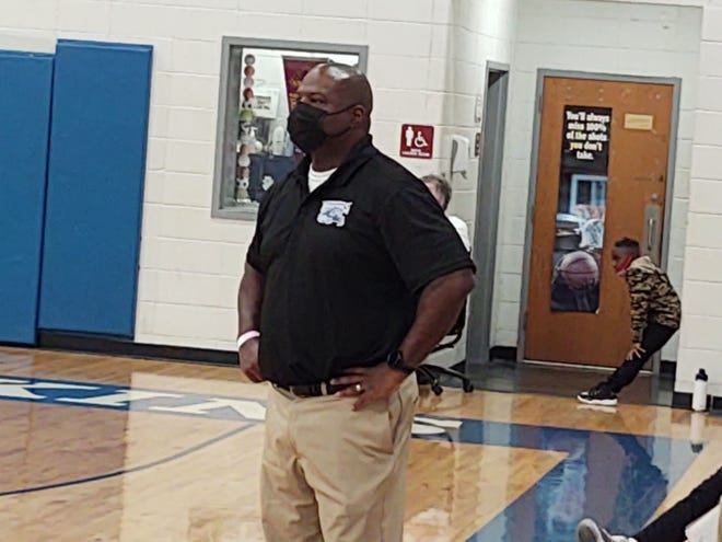 Woodville-Tompkins girls basketball coach Jeffery Roberson watches his players during the 48-36 victory over visiting Dodge County on Feb. 23 in the first round of the 2020-21 GHSA Class 2A playoffs.