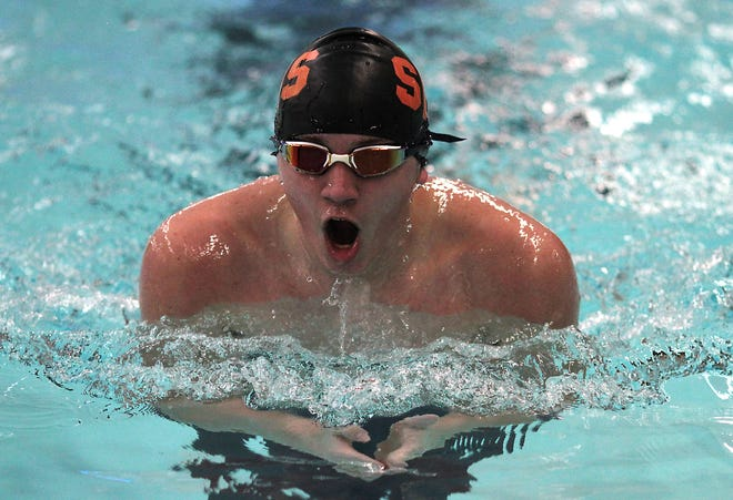 Hunter Dietrich of Sturgis swims in the 200 IM on Tuesday.
