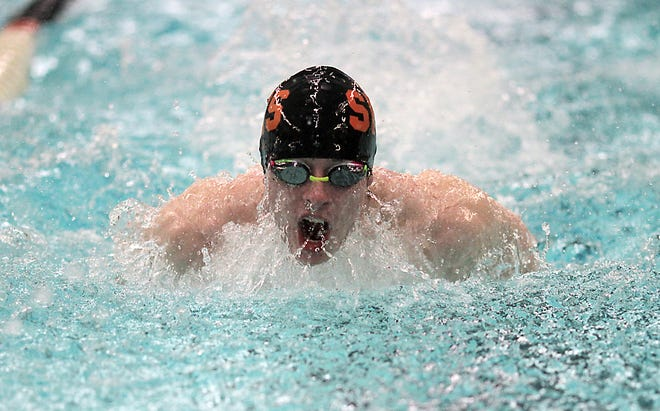 Charles Frost swims in the 200 IM on Tuesday.