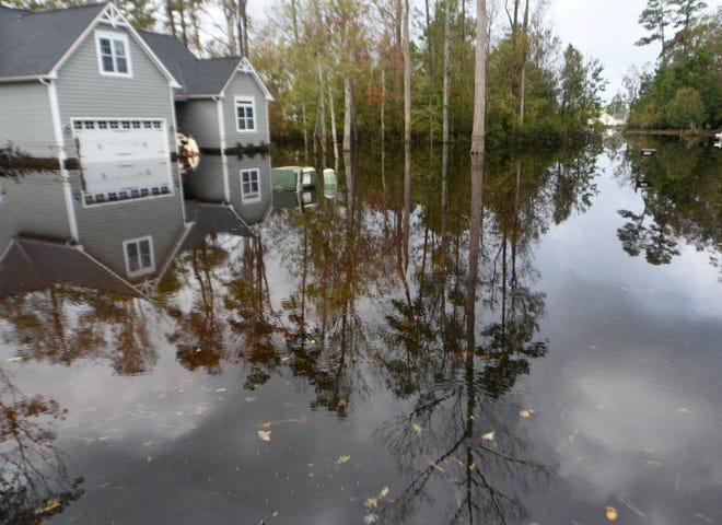 Flooding along Knollwood Drive in Hampstead's Cross Creek neighborhood following Hurricane Florence in 2018.