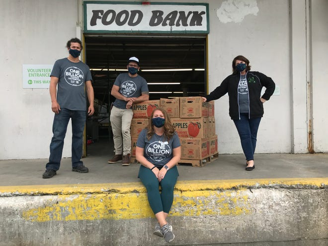 NC food bank staff at Marstellar Street location, pictured back row left to right, Tyler Kraft, Greg Casaletto, Beth Gaglione, and Kathleen Hoolihan.