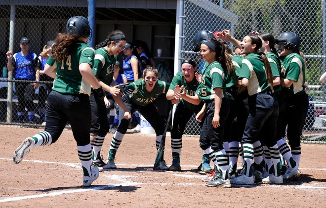 Teammates cheer in GNB Voc-Tech's Lena Tsonis' home run against Fairhaven. The Bears made a run through Div. 2 South in 2018 on their way to the state title.