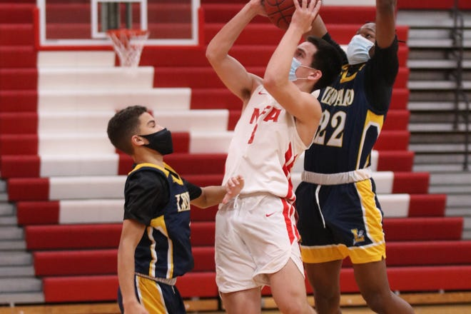 NFA guard Jayden Francis goes up for shot against Ledyard during the Wildcats' 56-55 loss Tuesday night at Norwich.
