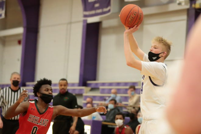 Topeka West junior Zander Putthoff sinks a 3-pointer in the first quarter of Tuesday's home game against Highland Park.