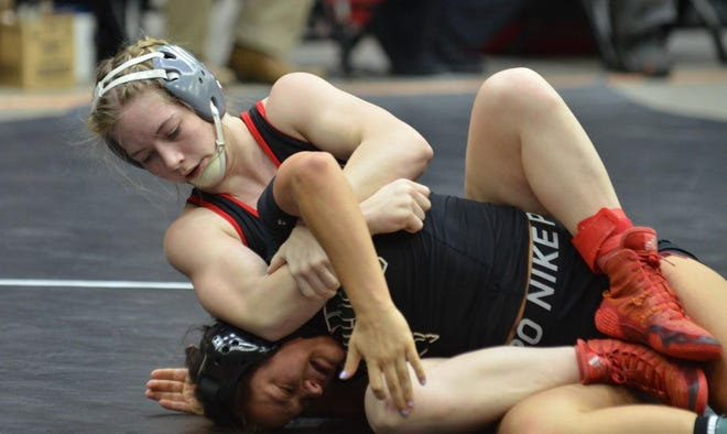 Marysville's Elise Rose (top) has suffered only one loss to a girl during her high school career, coming in last year's state championship match. Rose is 13-0 this season and ranked No. 1 at 132 pounds going into Friday's Division II state championships in Salina.