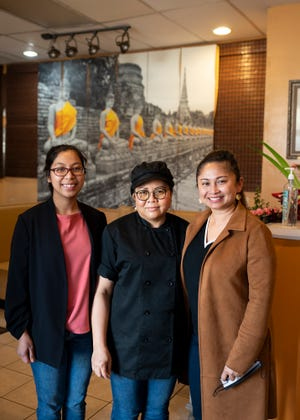 Manager Jaa Greiciunas, chef Maneerat Peters and owner Fawn Weydt at Brown Rice Thai Cuisine, located at 26 West Boylston St., West Boylston.