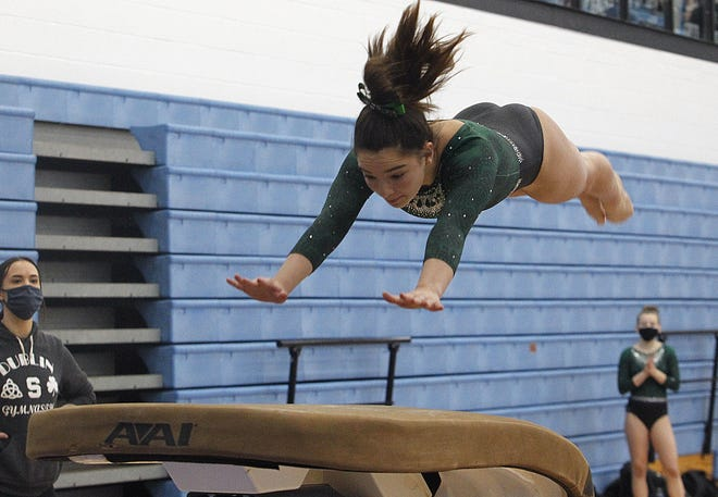 Freshman Quinn Hammond tied for seventh on beam, tied for eighth on vault and was 15th all-around to help Coffman win the OCC-Central meet Feb. 20 at Thomas Worthington and capture the overall league championship.