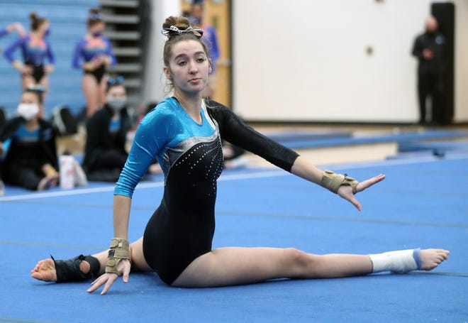 Bailey Miller and Darby competed in the district meet Feb. 27 at Worthington Kilbourne. The top three teams advanced to the state team meet March 5 at Bradley, while the top eight finishers in each event and the all-around qualified for the individual state meet March 6 at Bradley.