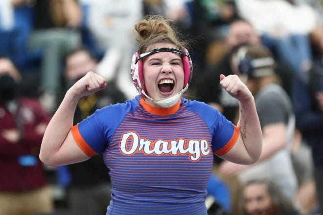 Orange senior Taryn Martin celebrates after winning the girls wrestling state championship at 170 pounds Feb. 21 at Hilliard Davidson. Martin, a Tiffin commit, went 42-0 the last two seasons with two state titles.
