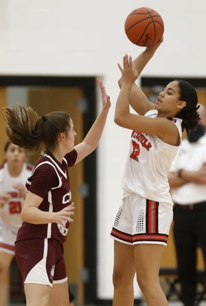 Sophomore forward Nelia Guice averaged 11.5 points and eight rebounds for the South girls basketball team, which went 11-7 but was unable to compete in the Division I postseason because of COVID-19.