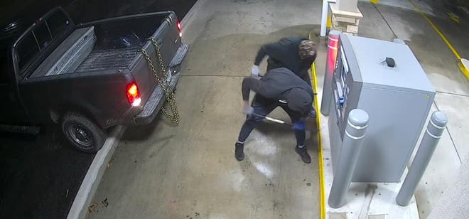 Police as seeking information regarding two men who attempted to rob a Howe bank a little more than an hour after attempting to steal an ATM in Collinsville.