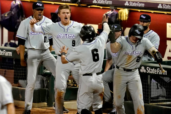 Abilene Christian's Alexei Cazarin (6) reacts with teammates Hunter Gieser (9) and Trevor Jackson (0) after scoring the go-ahead run against Texas A&M in the top of the ninth inning Tuesday in College Station. (AP Photo/Sam Craft)
