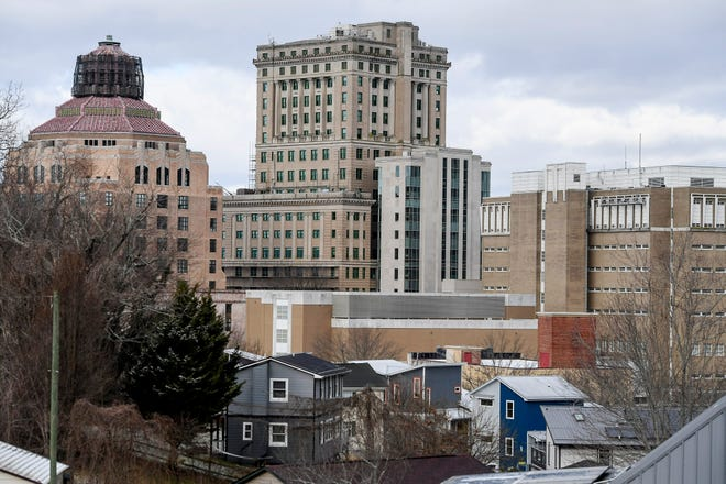 A view of Asheville's City Hall and Buncombe County Courthouse and Detention Center January 18, 2021.