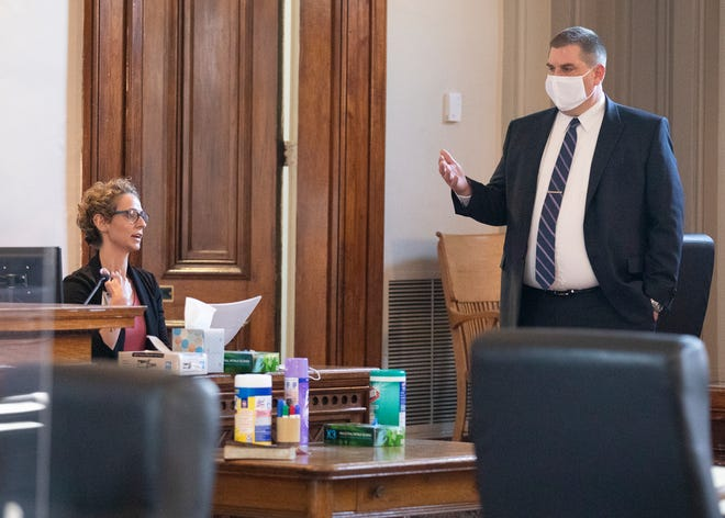 Prosecutor Jeffrey Marks questions Adena ER nurse Sarah Akber  on Feb. 24, 2021 as she discusses injuries to 76-year-old Barbara Martin. Chapman is accused of attempting to murder Martin on the morning of April 1, 2020.