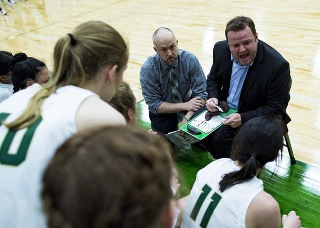 Rocky Mountain College women's basketball coach Wes Keller, right, instructs his players during a timeout in a game against Carroll College on Jan. 29, 2020.