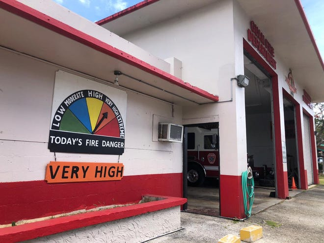 The fire danger rating on Feb. 24, 2021 is very high, according to a sign on the Tamuning fire station.