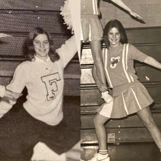 Donna Cougill (left) and her daughter Laura Mabry at roughly the same age. Donna was a cheerleader at Franklin Central and Laura was a mat maid for the wrestling team at the same school.