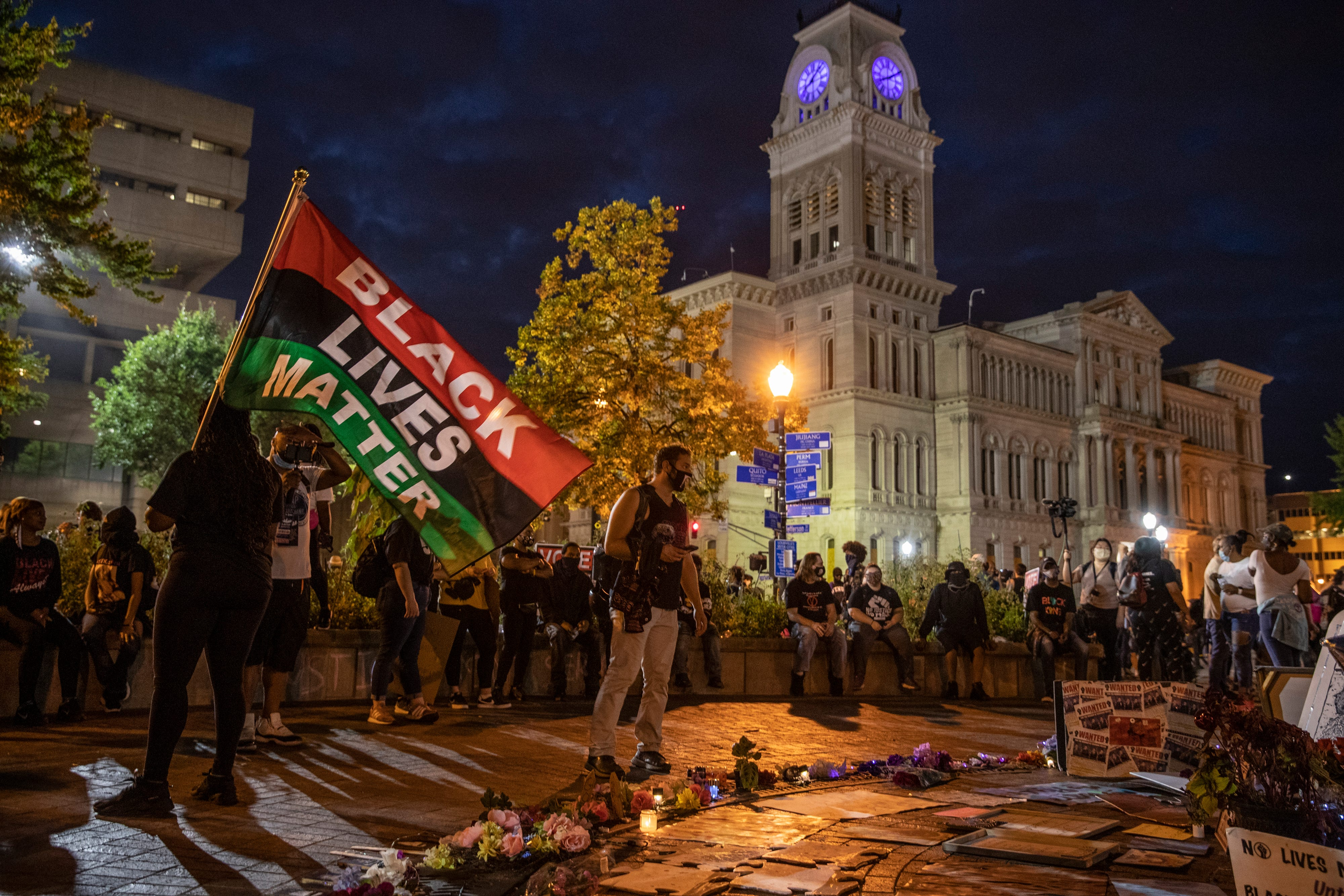 Jefferson Sqaure Park in Louisville, Kentucky, where protesters have gathered nightly for over six months to call for justice in the police shooting of Breonna Taylor. Sept. 25, 2020