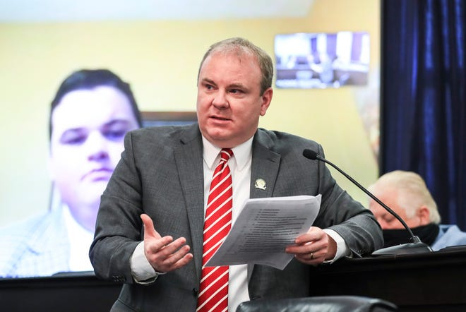 State Rep. Jason Nemes speaks during a committee meeting in Frankfort on Wednesday.