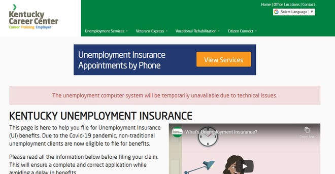 Kentucky's public-facing unemployment claims site was hit Wednesday with an effort to overwhelm the system, leading the state to make the site unavailable to the public.