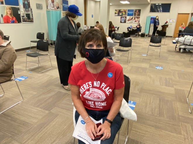 Marion City Schools Treasurer Veronica Reinhart received her COVID-19 vaccine at the Marion Medical Campus Wednesday, Feb. 24, 2021.