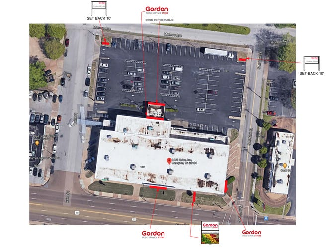 A photo from an application to the Memphis and Shelby County Board of Adjustment shows where signage for the new Gordon Food Service Store will be placed.