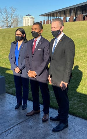 From left, Israel's Consul General Anat Sultan-Dadon, Montgomery Mayor Steven Reed and Israel's Ambassador to the United States and the United Nations Gilad Erdan talk Tuesday at the National Memorial for Peace and Justice.