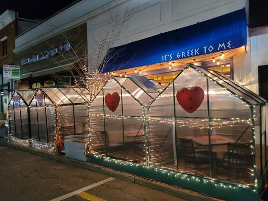 """""""Green houses"""" protected outdoor diners at It's Greek to Me Restaurant in Ridgewood,  but owner Paul Vagianos called the $1 million HealthBarn Foundation grant """"a lifeline"""" for fooderies in their Central Business District."""