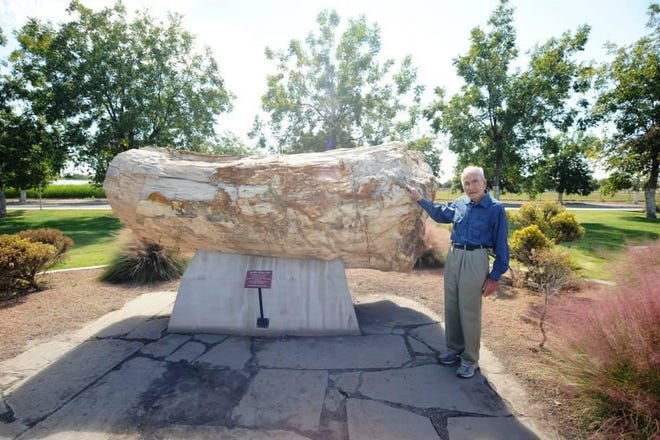 Herb Zuhl is pictured in front of a large piece of petrified wood. Zuhl, a local philanthropist who donated his personal collection of geological pieces to New Mexico State University, died on Feb. 12, 2021 at the age of 97.