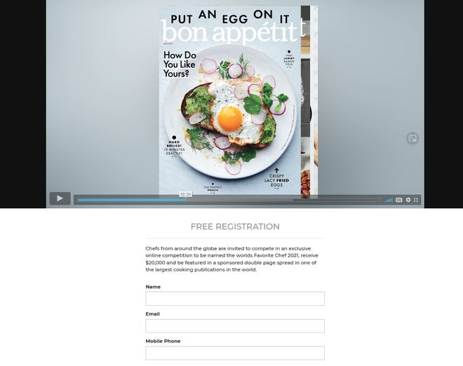 The Favorite Chef website as it appeared Feb. 16, 2021. The contest promises a two-page spread in Bon Appétit magazine to the winner. On Feb. 17, 2021, Bon Appétit released a statement clarifying that its editorial team does not endorse the contest and the spread is a paid advertisement.