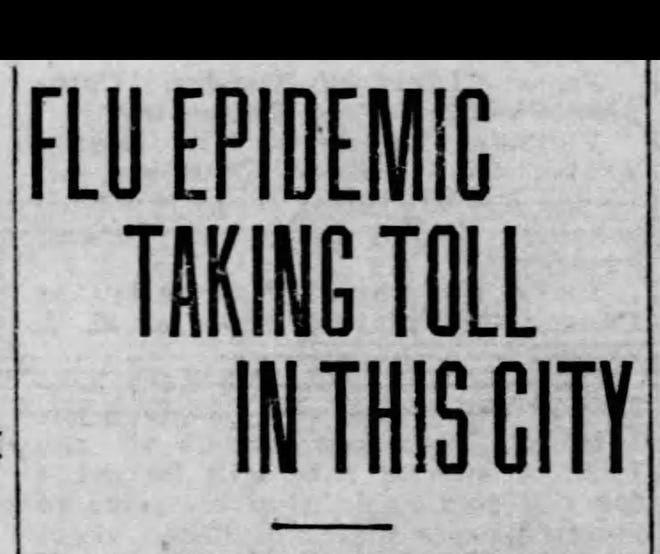 A Times Herald headline from the Spanish Flu epidemic in 1918.