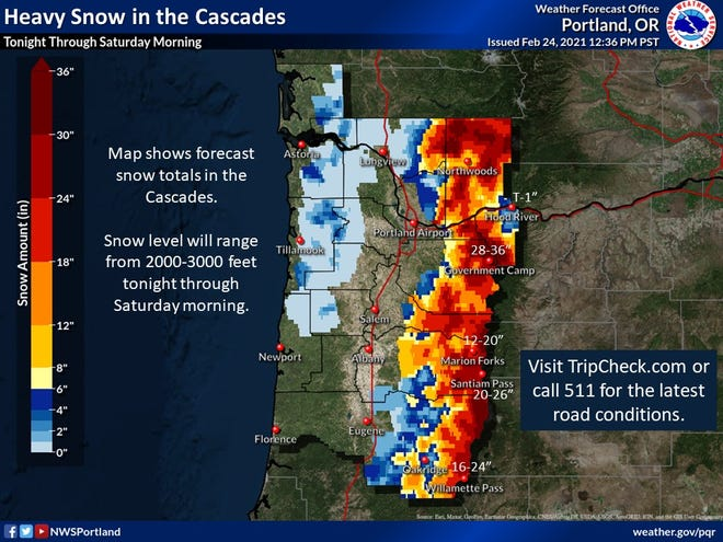 Projected snowfall in the Cascade Mountains Wednesday night through Saturday morning.