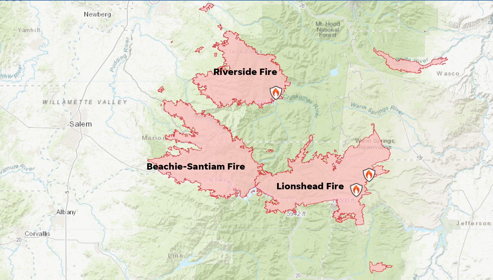 This map shows the main wildfire events near the Santiam Canyon during the Labor Day fires. The Beachie-Santiam fire refers to two fires that merged: the Beachie Creek Fire, which burned out of the Opal Creek Wilderness, and the Santiam Fire, which ignited on downed power lines in the Santiam Canyon.