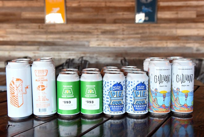 A variety of can designs are displayed on Wednesday, Feb. 24, at Fernson Brewery in Sioux Falls.