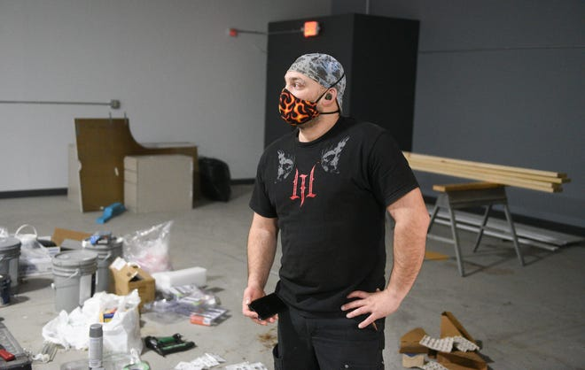 """Macanon """"Mac"""" Dhein looks out at the future sight of Make It Mac's Makerspace Tuesday, Feb. 23, 2021, in St. Cloud."""