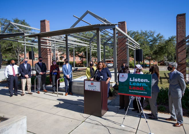 LCSO executive director Shonda Knight speaks at Smokey Hallow Commemoration during the announcement of Equity Tallahassee Leon's new website Wednesday, Feb. 24, 2021.