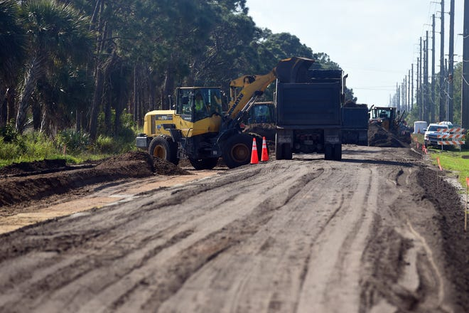 Road work continues on a section of 58th Avenue between 66th and 73rd streets in Indian River County on Wednesday, Feb. 24, 2021, as part of a $7.3 million road reconstruction project. The reconstruction could bee finished by August, but more work, including road widening, turn lanes and traffic signals, are looming on the horizon in 2022.