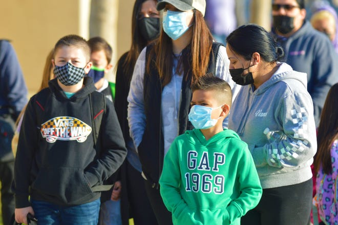 Students return to the classroom on Feb. 24, 2021 at Mission Valley Elementary School in Tulare.