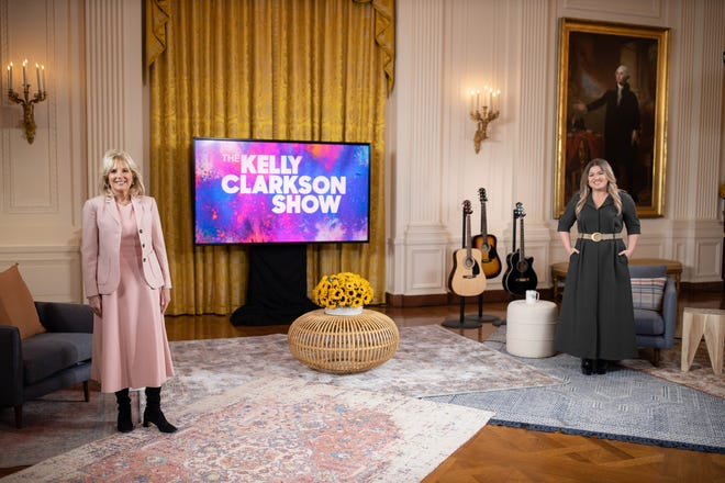 """First lady Jill Biden sat down with Kelly Clarkson for her first major TV interview, in the East Room of the White House. The episode of """"The Kelly Clarkson Show"""" airs Feb. 25, 2021."""